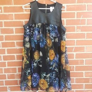 Three Hearts faux leather floral dress,  XL